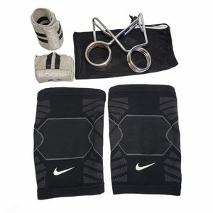 Nike Knee Sleeves, Rogue Wrist Wraps, Barbell Clip